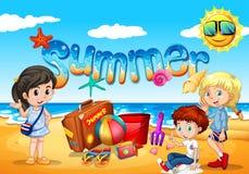 Kinder genießen Sommer auf dem Strand vektor abbildung