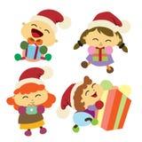 Kinder glücklich mit ihrem Geschenk Weihnachtshintergrund Design Lizenzfreie Stockbilder