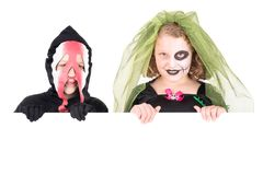 Kinder in Halloween Stockfotos