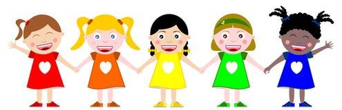 Kinder Hand in Hand Stockbilder
