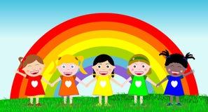 Kinder Hand in Hand im Freien Lizenzfreie Stockfotos