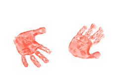 Kinder hands. Color kinder hands on the white paper Royalty Free Stock Photography