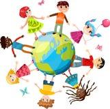 Kinder ih die Welt lizenzfreie abbildung