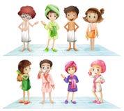 Kinder im Badezimmer lizenzfreie abbildung