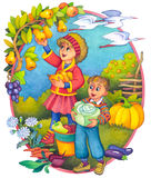 Kinder im Herbst Lizenzfreie Stockbilder