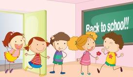 Kinder im Klassenzimmer lizenzfreie abbildung
