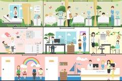 Kinder im Krankenhaus lizenzfreie abbildung