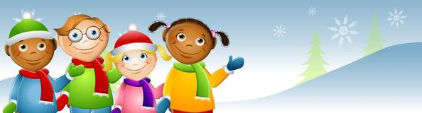Kinder im Schnee-Wellenartig bewegen Lizenzfreie Stockfotografie