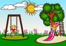 Kinder im Spielplatz lizenzfreie abbildung