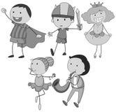 Kinder im unterschiedlichen Rollenspiel Lizenzfreies Stockbild