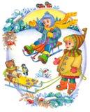 Kinder im Winter Stockbild