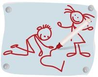 Kinder, Inneres und eine rote felt-tip Feder vektor abbildung