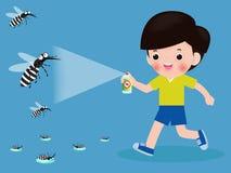 Kinder k?mpfen Moskito durch Spray Schutzdengue-fieber-Konzept Vektorillustration, Zika-Virus, Malaria, Gelbfieber lizenzfreie abbildung
