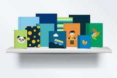 Kinder, Kindb?cherregal Vorderansicht des Bucheinbandes stehend auf grauem Hintergrund mit Schatten vektor abbildung