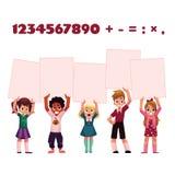 Kinder, Kinder, die leere Bretter für mathematische, arithmetische Übungsdarstellung halten stock abbildung