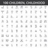 Kinder, Kindheit, Vorschüler, neugeboren, Kindergesundheit, Spiele spielend, Kindergarten, Jugendlichlebensstillinie Ikonen, Zeic Stockfoto