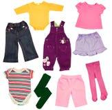 Kinder-Kleidung lokalisiert auf Weiß. Stockfoto
