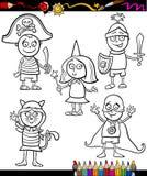 Kinder in Kostüme eingestellter Färbungsseite Lizenzfreie Stockfotografie