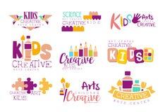 Kinder kreativ und Wissenschafts-Klassen-Schablonen-fördernde Logo Set With Symbols Of-Kunst und -kreativität, Malerei und Origam Lizenzfreies Stockfoto