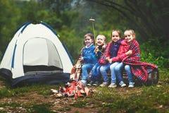 Kinder lachen und braten Würste an der Stange nahe Zelt Stockfoto