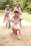 Kinder in Landschaft-tragenden Sicherheits-Sturzhelmen Lizenzfreie Stockfotos