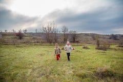Kinder laufen gelassen in das Feld Kinderspiel auf dem Gebiet an der goldenen Stunde lizenzfreies stockbild