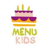 Kinder Lebensmittel, Café-spezielles Menü für Kindbunte Promo-Zeichen-Schablone mit Text-und Partei-Kuchen mit Kerzen Stockbild