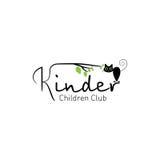 Kinder - logo children club with fun cat Stock Image