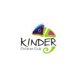 Kinder - logo children club with fun chameleon Stock Image