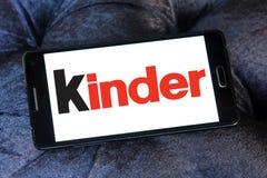 Kinder logo. Logo of chocolate brand kinder on samsung mobile phone stock images