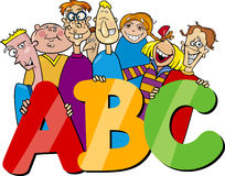 Kinder mit ABC beschriftet Karikatur Lizenzfreie Stockbilder