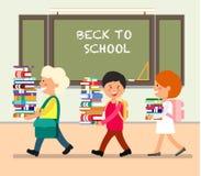Kinder mit Büchern Flache Illustration des Vektors lizenzfreie abbildung