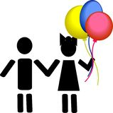 Kinder mit Ballonen vektor abbildung