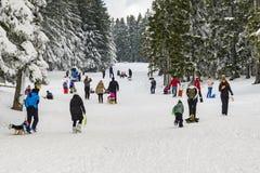 Kinder mit den Eltern, die Spaß auf erstem Wintersn rodeln und haben Lizenzfreie Stockbilder