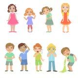 Kinder mit den Krankheiten eingestellt Stockbild