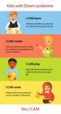 Kinder mit Down-Syndrom Tatsachen infographics lizenzfreie abbildung