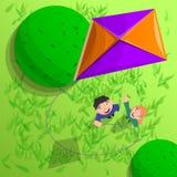 Kinder mit Drachen im Luftkonzepthintergrund, Karikaturart vektor abbildung
