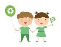 Kinder mit eco Symbol Lizenzfreie Stockfotos