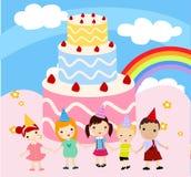 Kinder mit einem Kuchen Stockfotografie