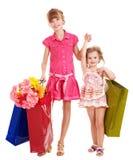Kinder mit Einkaufstasche. Lizenzfreie Stockbilder