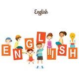 Kinder mit englischen Alphabeten Stockbilder