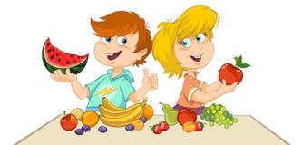 Kinder mit Früchten stock abbildung