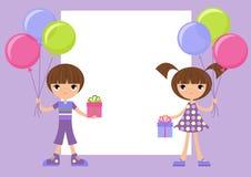 Kinder mit Geschenken Stockbild