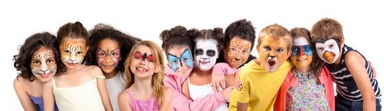 Kinder mit Gesichtfarbe lizenzfreies stockfoto