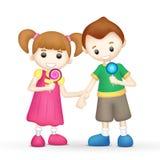 Kinder mit Lutscher-Süßigkeit Lizenzfreie Stockfotografie