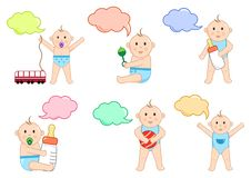 Kinder mit Spielwaren und Dialogfeld, Illustration stock abbildung