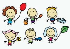 Kinder mit Spielzeuggeschenken Stockbild