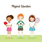 Kinder mit Sport-Instrumenten Lizenzfreie Stockfotos