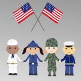 Kinder mit USA-Militäruniform Stockfoto