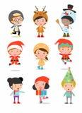 Kinder mit Weihnachtskostümen, Kinder mit Weihnachtskostümen stellen ein, Vector Stockfotografie